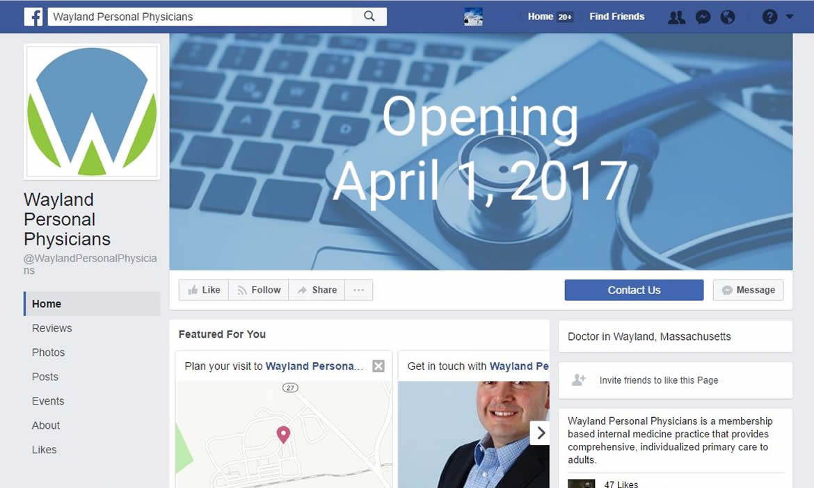 Wayland Personal Physicians Is Now on Facebook